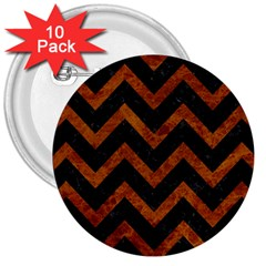 Chevron9 Black Marble & Brown Marble 3  Button (10 Pack) by trendistuff