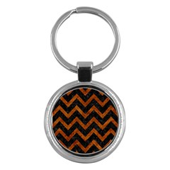 Chevron9 Black Marble & Brown Marble Key Chain (round) by trendistuff