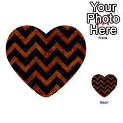 Chevron9 Black Marble & Brown Marble Multi Purpose Cards (heart)