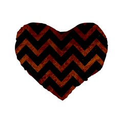 Chevron9 Black Marble & Brown Marble Standard 16  Premium Flano Heart Shape Cushion  by trendistuff