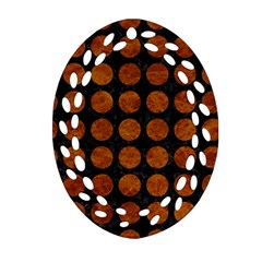 Circles1 Black Marble & Brown Marble Ornament (oval Filigree) by trendistuff
