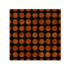 Circles1 Black Marble & Brown Marble Small Satin Scarf (square) by trendistuff