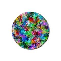 Colorful Strokes                                                                                                                			rubber Coaster (round) by LalyLauraFLM