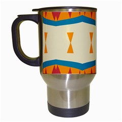Mirrored Shapes In Retro Colors                                                                                                                 Travel Mug (white) by LalyLauraFLM