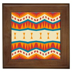 Mirrored Shapes In Retro Colors                                                                                                                 framed Tile by LalyLauraFLM