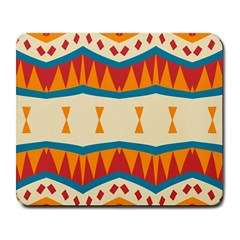 Mirrored Shapes In Retro Colors                                                                                                                 			large Mousepad by LalyLauraFLM