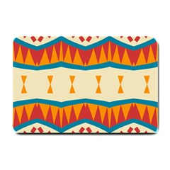 Mirrored Shapes In Retro Colors                                                                                                                 			small Doormat by LalyLauraFLM