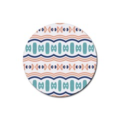 Shapes And Waves                                                                                                                  rubber Coaster (round) by LalyLauraFLM