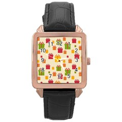 Christmas Gift Box Vector Seamless Pattern Vector Rose Gold Leather Watch  by Onesevenart
