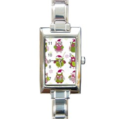 Cartoon Christmas Owl Cute Vector Rectangle Italian Charm Watch by Onesevenart