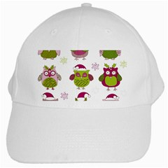 Cartoon Christmas Owl Cute Vector White Cap by Onesevenart