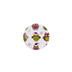 Cartoon Christmas Owl Cute Vector 1  Mini Magnets by Onesevenart
