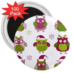 Cartoon Christmas Owl Cute Vector 3  Magnets (100 Pack) by Onesevenart