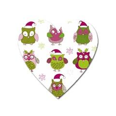 Cartoon Christmas Owl Cute Vector Heart Magnet by Onesevenart