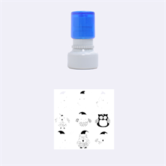 Cartoon Christmas Owl Cute Vector Rubber Round Stamps (small) by Onesevenart