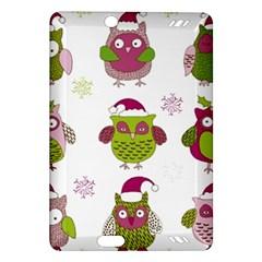 Cartoon Christmas Owl Cute Vector Amazon Kindle Fire Hd (2013) Hardshell Case by Onesevenart