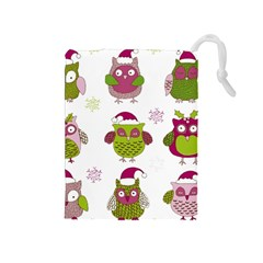 Cartoon Christmas Owl Cute Vector Drawstring Pouches (medium)  by Onesevenart