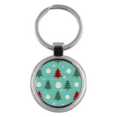 Christmas Tree With Snow Seamless Pattern Vector Key Chains (round)  by Onesevenart