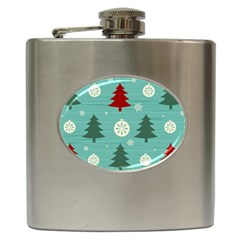 Christmas Tree With Snow Seamless Pattern Vector Hip Flask (6 oz) by Onesevenart