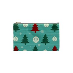 Christmas Tree With Snow Seamless Pattern Vector Cosmetic Bag (small)  by Onesevenart