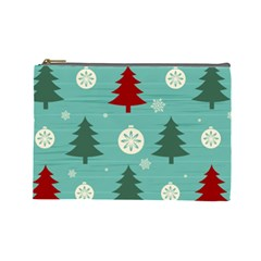 Christmas Tree With Snow Seamless Pattern Vector Cosmetic Bag (large)  by Onesevenart