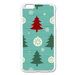 Christmas Tree With Snow Seamless Pattern Vector Apple Iphone 6 Plus/6s Plus Enamel White Case by Onesevenart