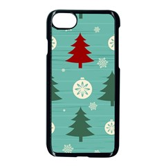 Christmas Tree With Snow Seamless Pattern Vector Apple Iphone 7 Seamless Case (black) by Onesevenart
