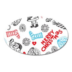 Christmas Doodle Pattern Oval Magnet by Onesevenart