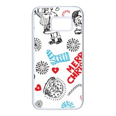 Christmas Doodle Pattern Samsung Galaxy S7 White Seamless Case by Onesevenart