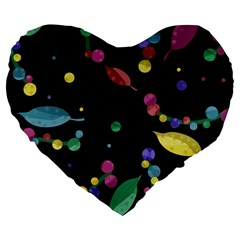 Space Garden Large 19  Premium Flano Heart Shape Cushions by Valentinaart