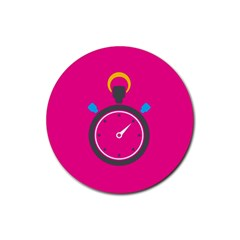 Alarm Clock Houre Rubber Coaster (round)  by AnjaniArt