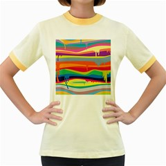 Colorfull Rainbow Women s Fitted Ringer T Shirts by AnjaniArt