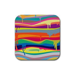 Colorfull Rainbow Rubber Square Coaster (4 Pack)  by AnjaniArt
