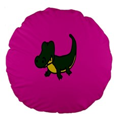 Crocodile Large 18  Premium Flano Round Cushions by AnjaniArt