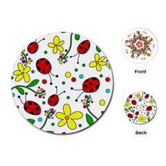 Ladybugs Playing Cards (round)  by Valentinaart