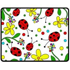 Ladybugs Fleece Blanket (medium)  by Valentinaart