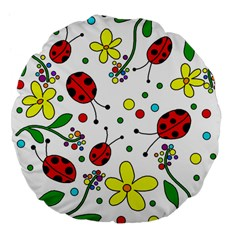 Ladybugs Large 18  Premium Flano Round Cushions by Valentinaart