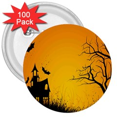 Day Halloween Night 3  Buttons (100 Pack)  by AnjaniArt