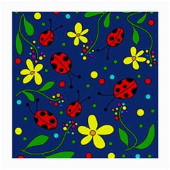 Ladybugs   Blue Medium Glasses Cloth by Valentinaart
