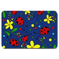 Ladybugs   Blue Large Doormat  by Valentinaart