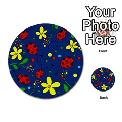 Ladybugs   Blue Multi Purpose Cards (round)  by Valentinaart