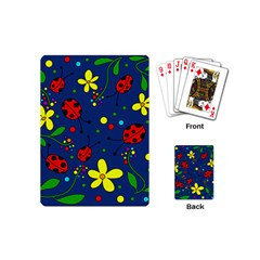 Ladybugs   Blue Playing Cards (mini)  by Valentinaart