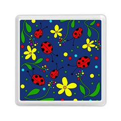 Ladybugs   Blue Memory Card Reader (square)  by Valentinaart