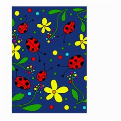 Ladybugs   Blue Large Garden Flag (two Sides) by Valentinaart