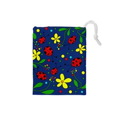 Ladybugs   Blue Drawstring Pouches (small)  by Valentinaart