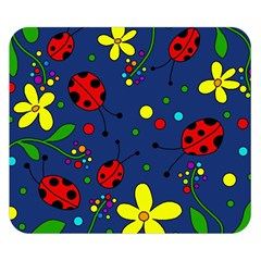 Ladybugs - blue Double Sided Flano Blanket (Small)  by Valentinaart