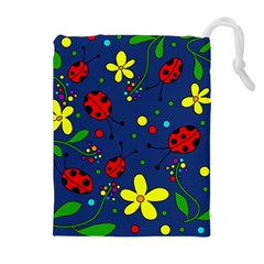 Ladybugs   Blue Drawstring Pouches (extra Large) by Valentinaart