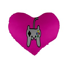 Game Pink Standard 16  Premium Flano Heart Shape Cushions by AnjaniArt