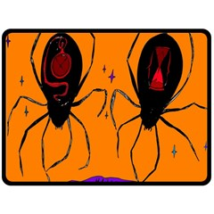 Happy Hellpween Spider Double Sided Fleece Blanket (large)  by AnjaniArt