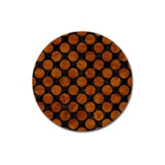 Circles2 Black Marble & Brown Marble Magnet 3  (round) by trendistuff